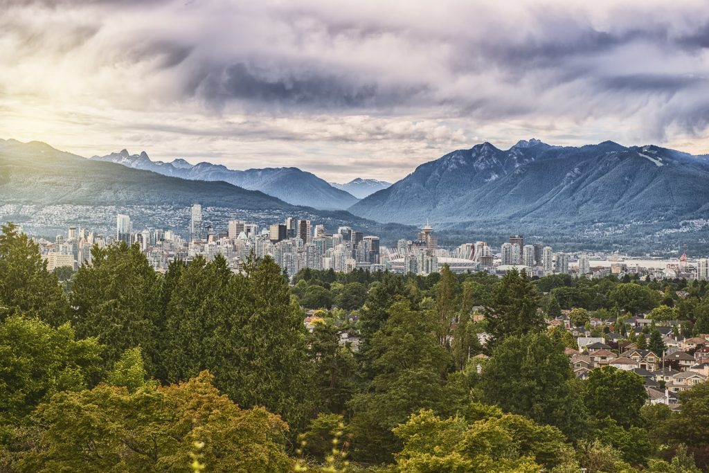 vancouver skyline / includign north shore mountains / and all tall buildings